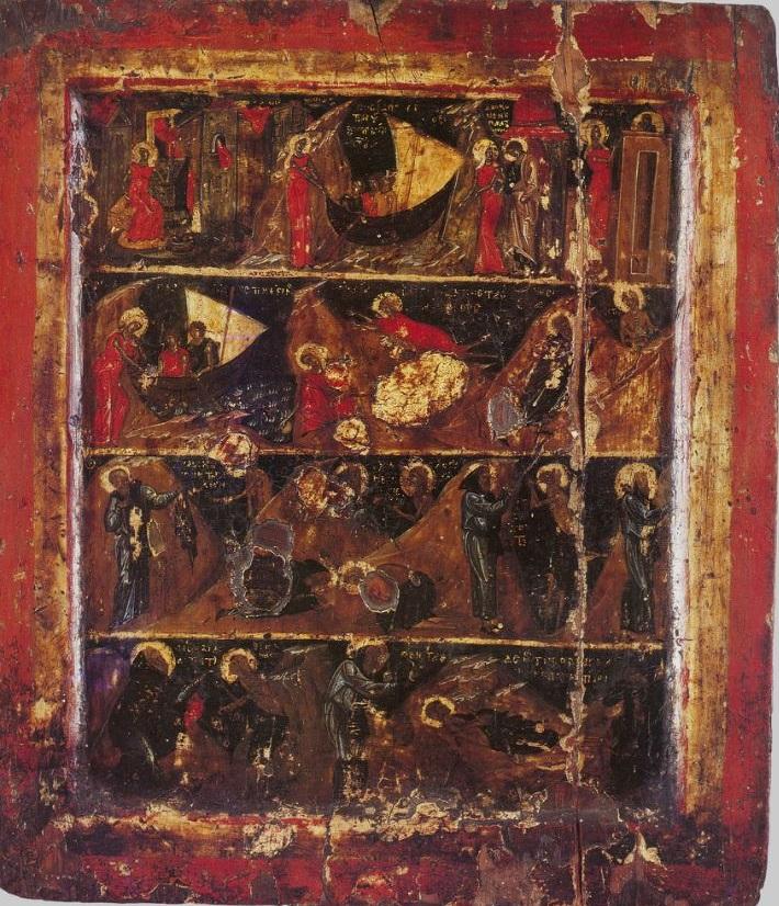 Икона с житием преподобной Марии Египетской. Афон, Хиландар. XIV в.