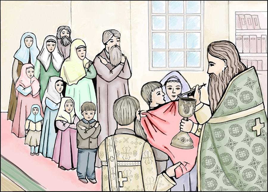 Ко Святой Чаше по порядку подходят младенцы, отроки и отроковицы, девицы, мужчины и женщины