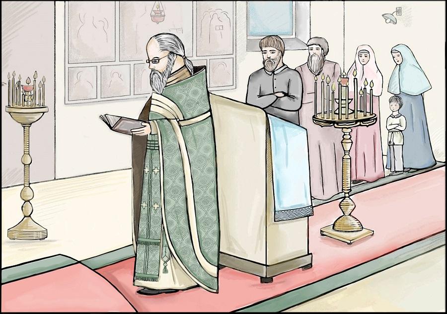 Священник читает заамвонную молитву