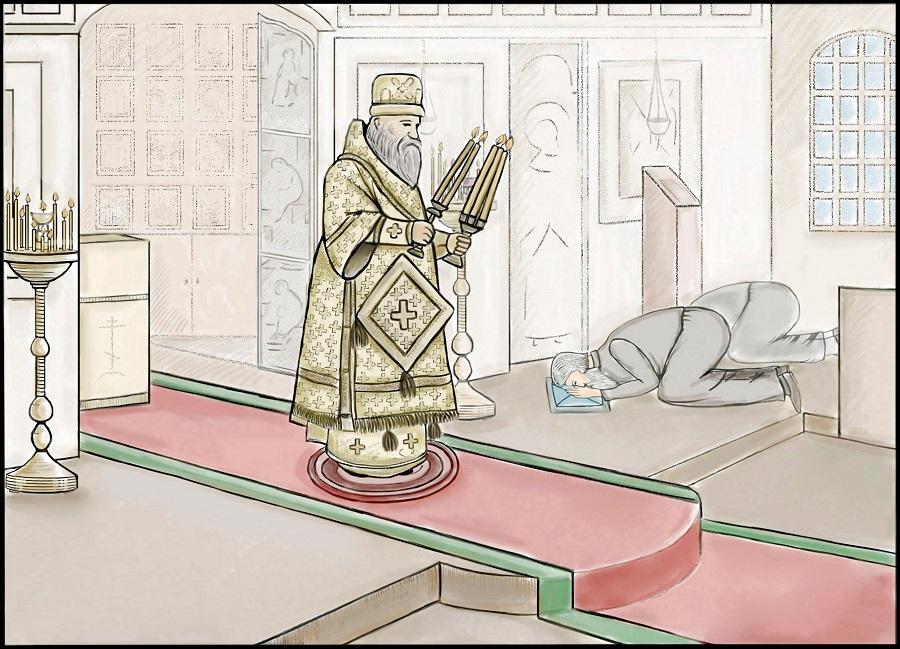 Архиепископ осеняет молящихся дикирием и трикирием
