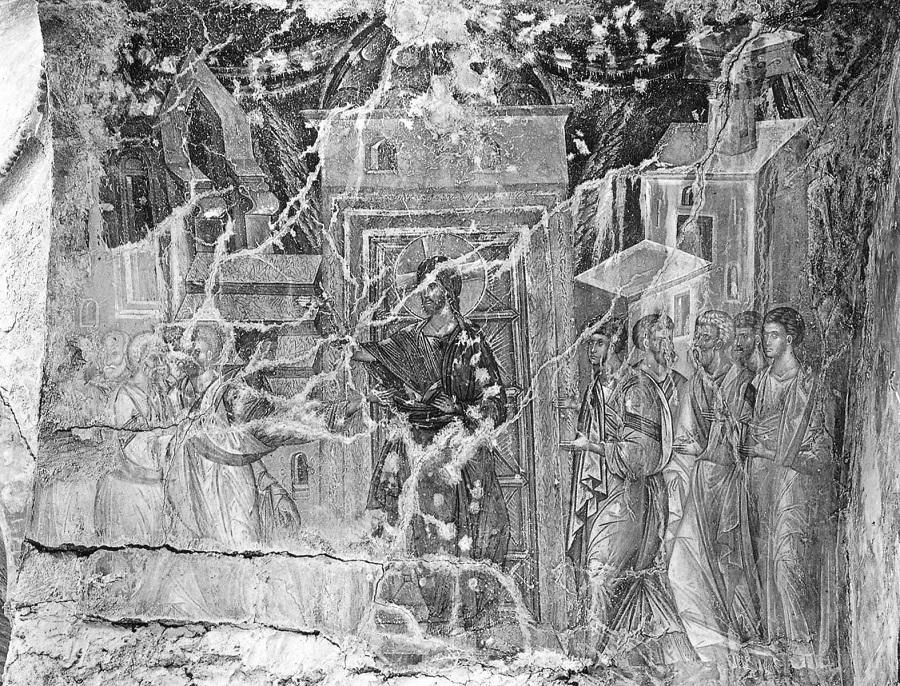 Уверение Фомы. Церковь Богоматери Перивлепты, Мистра, Греция. Фреска в диаконнике. Вторая половина XIV в.