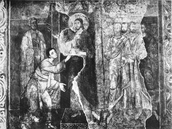 Уверение Фомы. Собор святой Софии, Киев, Украина. Фреска нижнего регистра южной части трансепта