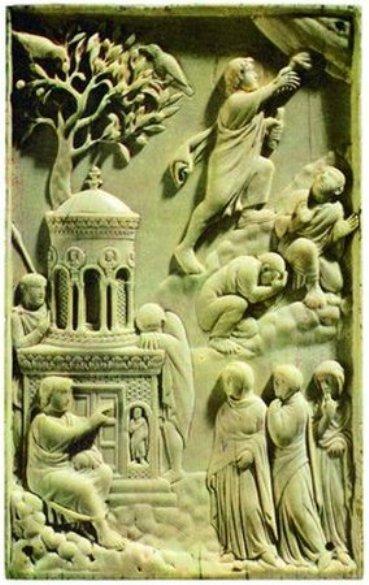 Жены-мироносицы у Гроба Господня. Аворий. Ок. 400 г. Баварский национальный музей, Мюнхен