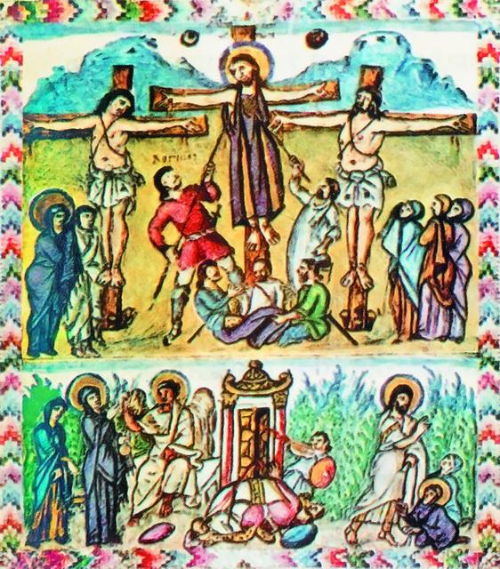 Жены-мироносицы у Гроба Господня. Миниатюра из Евангелия Раввулы. 586 год