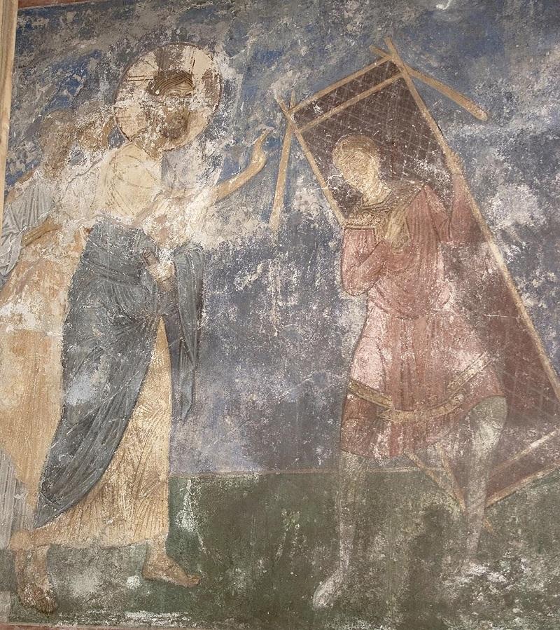 Исус Христос исцеляет расслабленного. Роспись Спасо-Преображенского собора Мирожского монастыря. Псков, ок. 1156 года