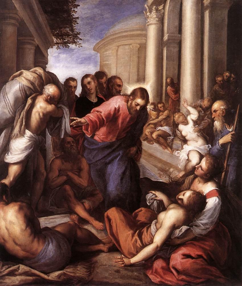 Исцеление расслабленного при Овчей купели.  Джакомо Пальма, 1592 год