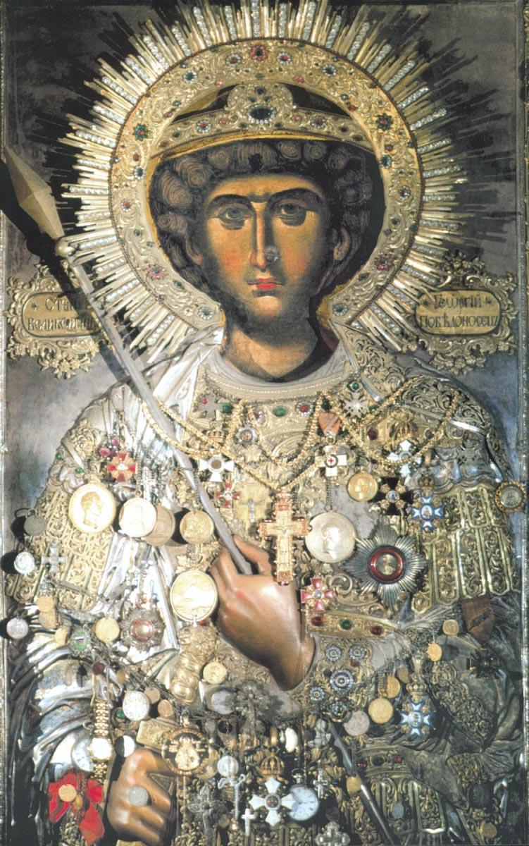 Великомученик Георгий. Византия, XIV век. Чтимый образ монастыря Зограф (Афон)
