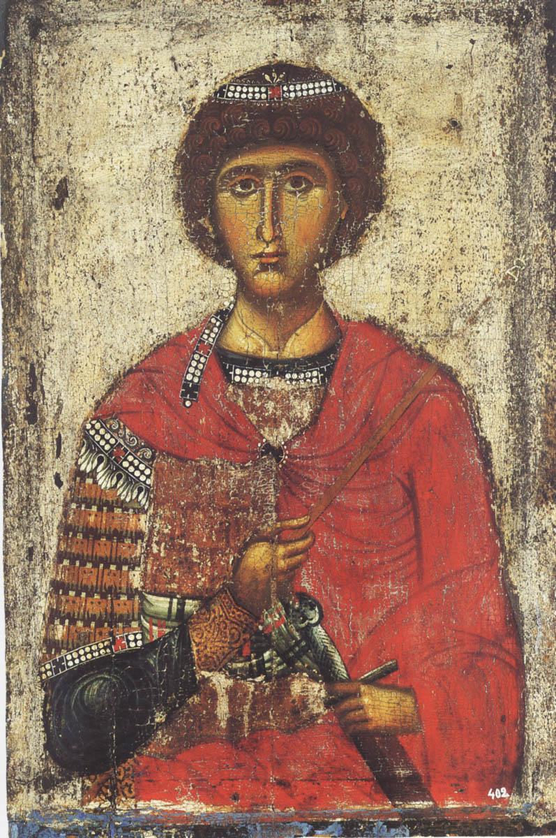 Великомученик Георгий. Икона. Византия. XIII в. Афон (Лавра)