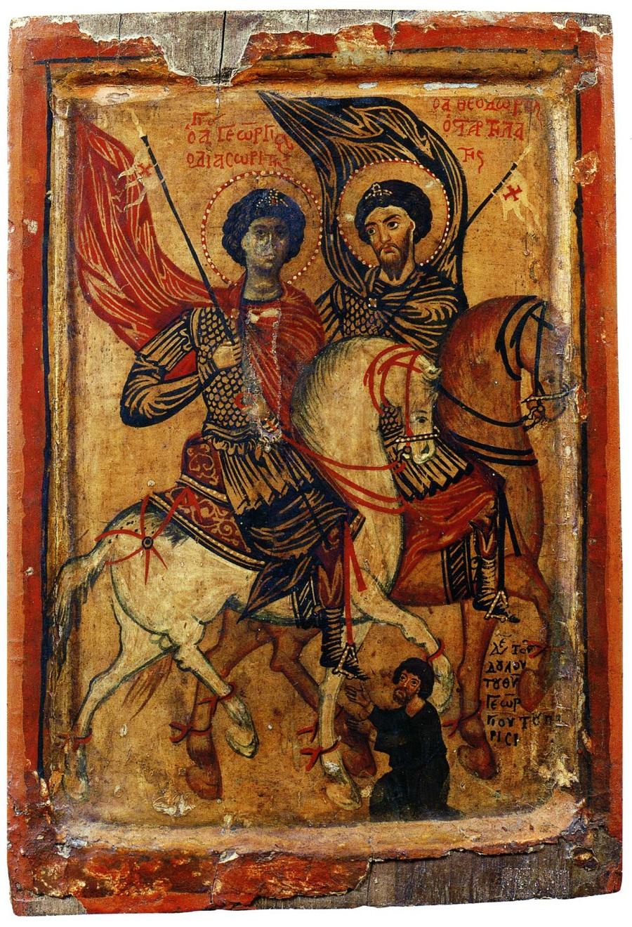 Георгий Диасорит и Феодор Стратилат на конях. Ок. 1260-х гг. Монастырь св. Екатерины, Синай, Египет