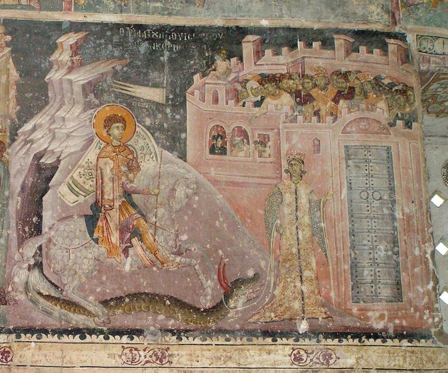 Чудо Георгия о змие. 1317–1318 гг. Церковь св. Георгия, Старо-Нагоричино, Македония