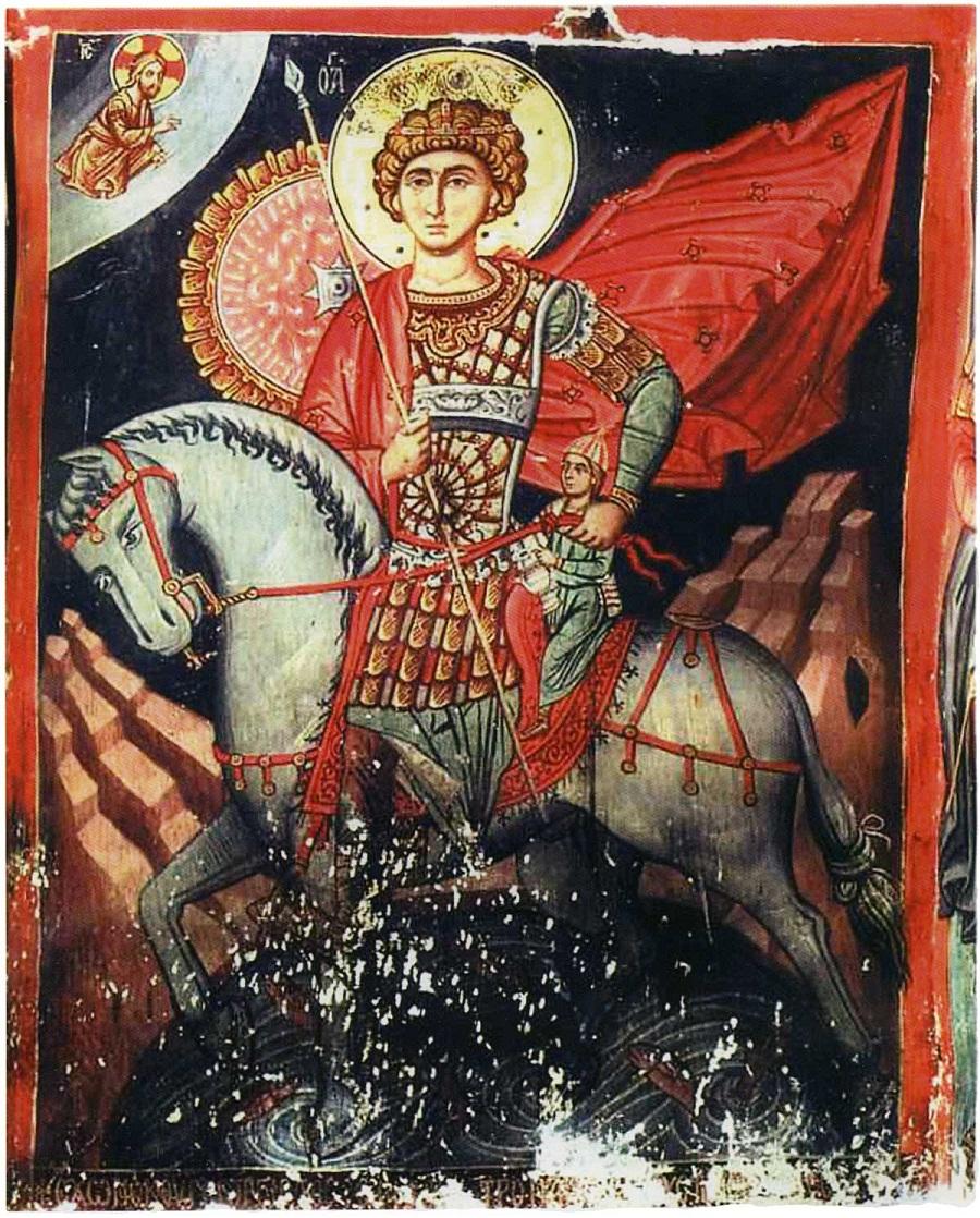 Чудо святого  Георгия об избавлении отрока из плена. 1494 г. Церковь Святого Креста близ деревни Платанистаса, Кипр