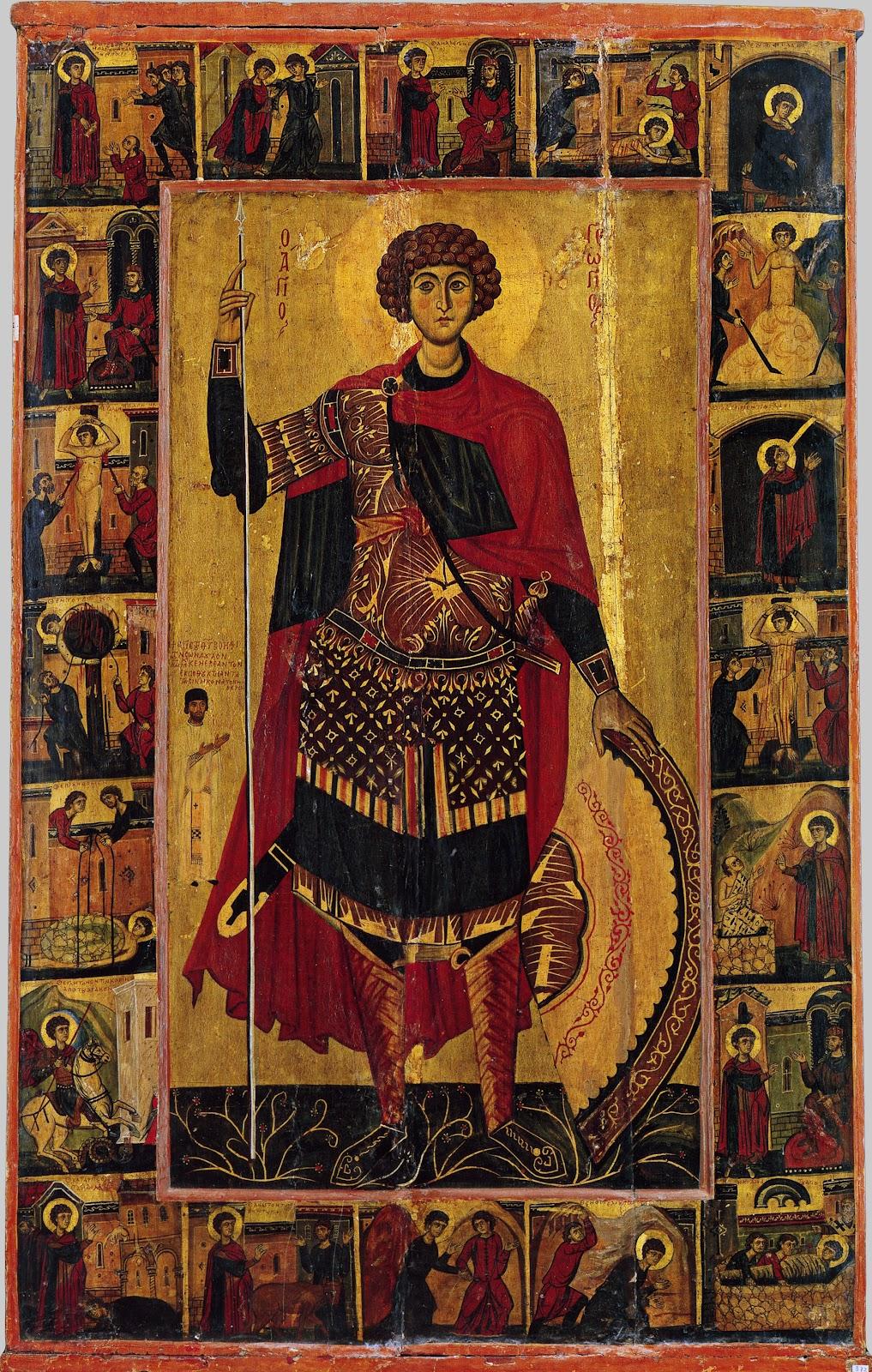 Святой Георгий, с житием. Начало XIII в. Монастырь св. Екатерины, Синай, Египет