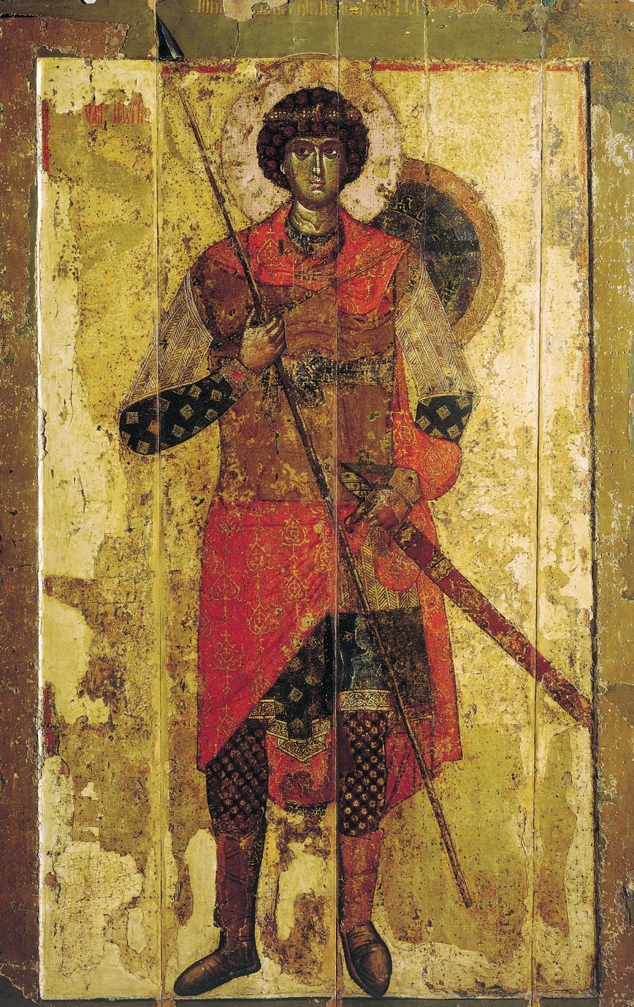 Великомученик Георгий. Икона. Новгород. 1130-40-е годы. Москва,  ГТГ