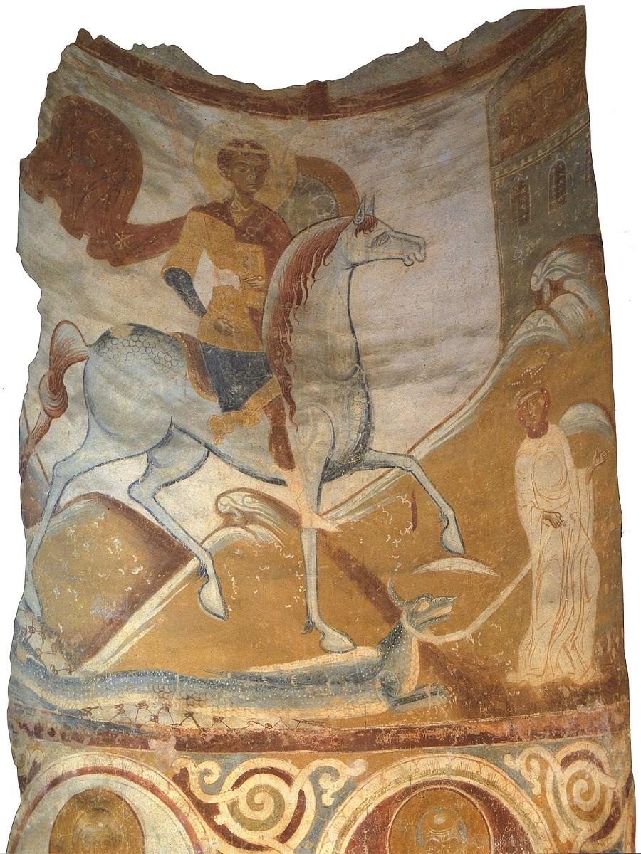 Чудо Георгия о змие. Фреска. Последняя четверть XII в. Церковь святого Георгия, Старая Ладога