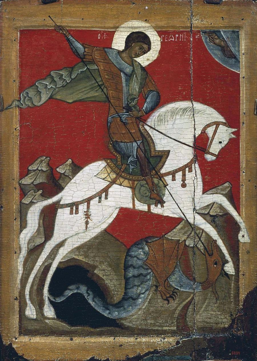 Чудо Георгия о змие. Икона. Новгород. Конец XIV — начало XV вв.