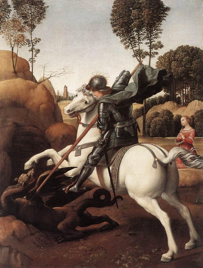 Рафаэль Санти. Святой Георгий и дракон. 1505-1506 гг. Вашингтон, Национальная галерея искусств
