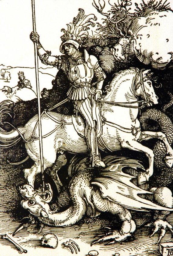 Альбрехт Дюрер. Святой Георгий, поражающий дракона. 1503 год