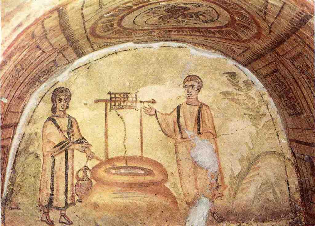 Исус и самарянка. Рим, фреска катакомб Via Latina. III-IV века
