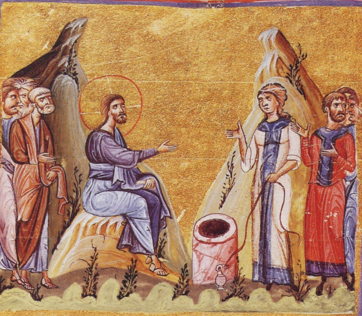 Христос и Самарянка. Миниатюра. Византия. XI в. Дионисиат. Афон