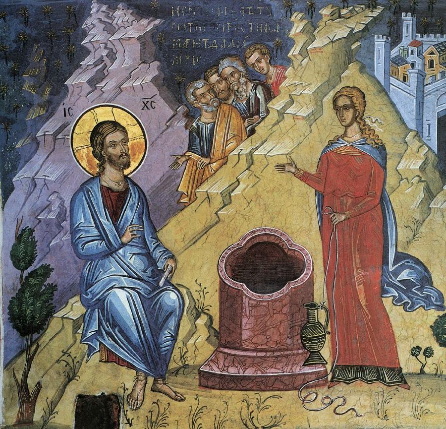 Христос и Самарянка. Тзортзи (Зорзис) Фука. Фреска. Монастырь Дионисиат. Афон. 1547 г.