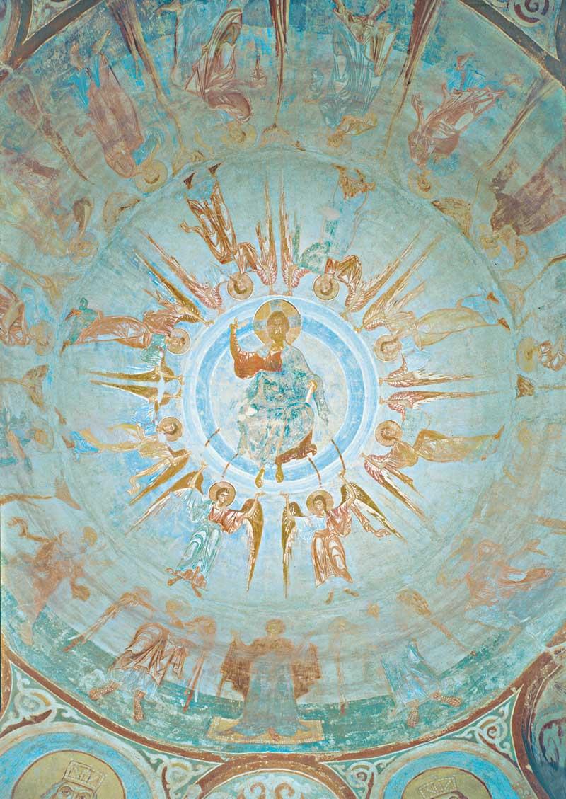 Вознесение Господне. Роспись купола. Последняя четверть XII в. Церковь святого Георгия, Старая Ладога