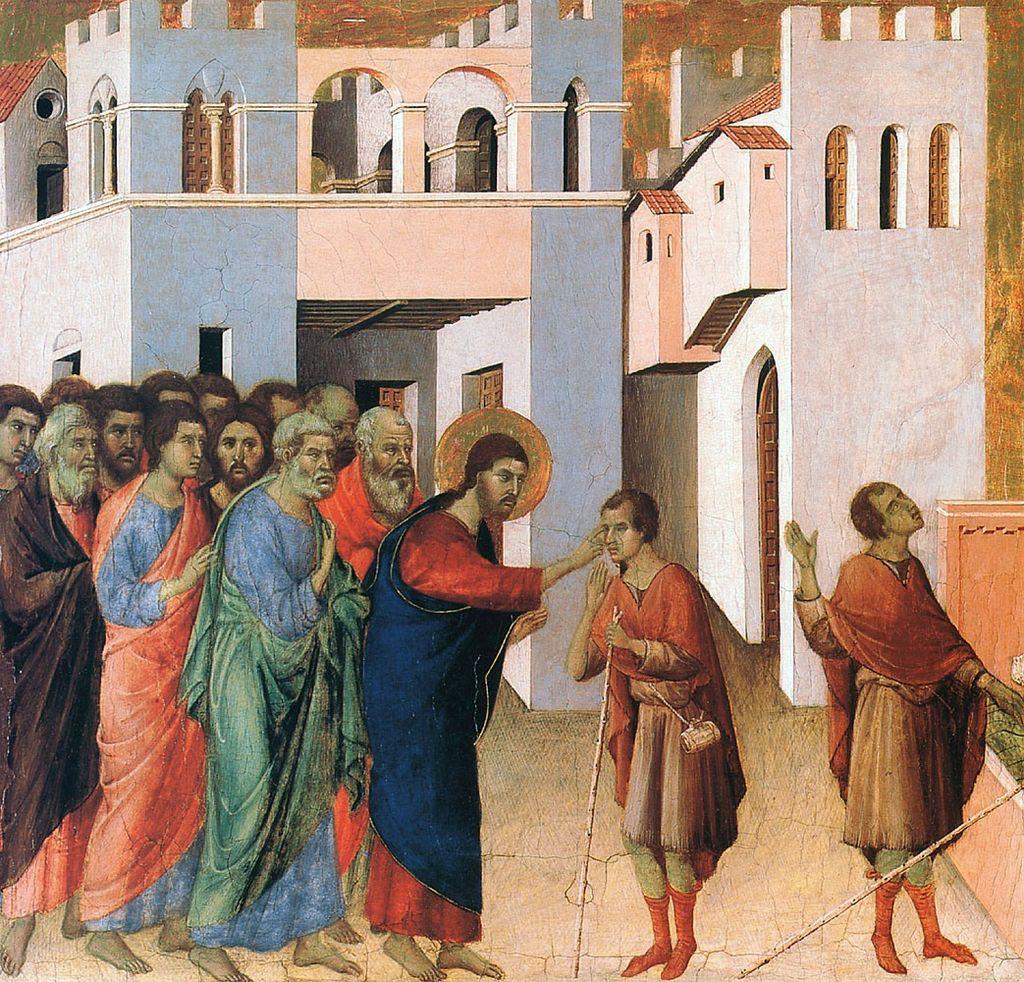 Исцеление слепого. Начало XIV века. Дуччо ди Буонинсенья