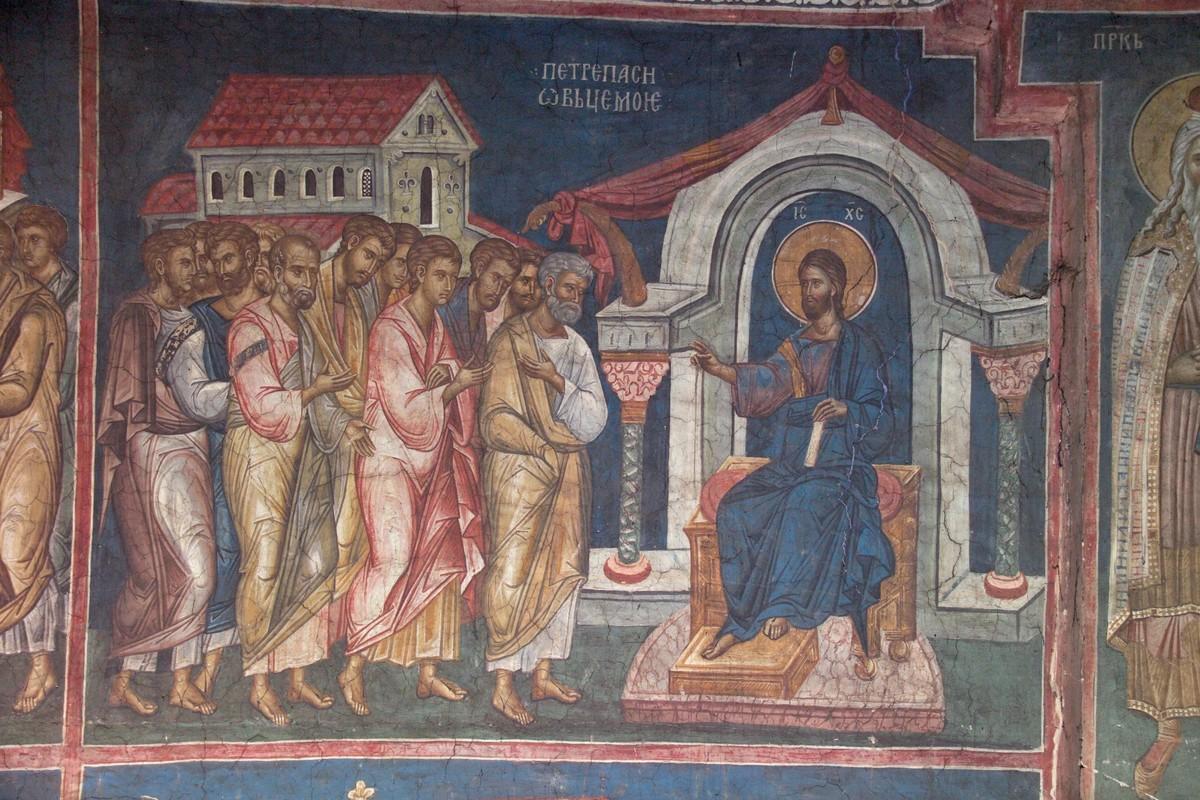 Петр, паси овец моих. Фреска монастыря Высокие Дечаны. Сербия