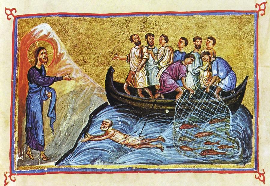 Явление Христа ученикам на море Тивериадском; Византия.; XI в. Монастырь Дионисиат, Афон