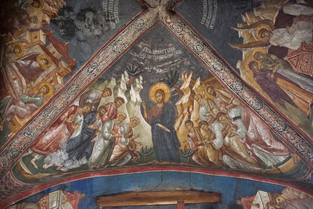 Явление Христа апостолам на горе Галилейской. Монастырь Дечаны, XIV в, Сербия