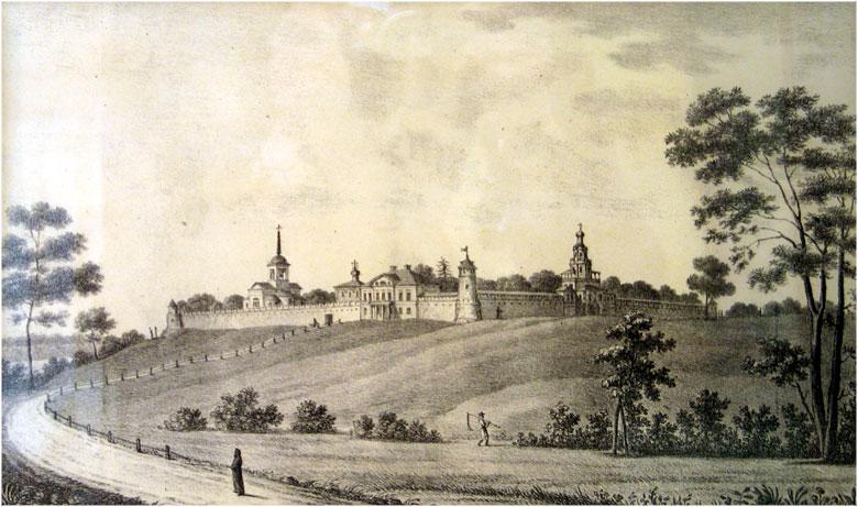 Успенский Зилантов женский монастырь на литографии В. Турина, 1832 г.