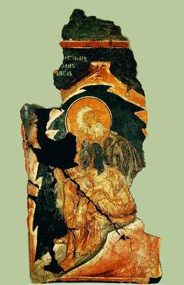 Пророк Илия. Фрагмент фрески церкви Сорока мучеников в Тырнове. Ок. 1230 г. Региональный исторический музей, Велико Тырново