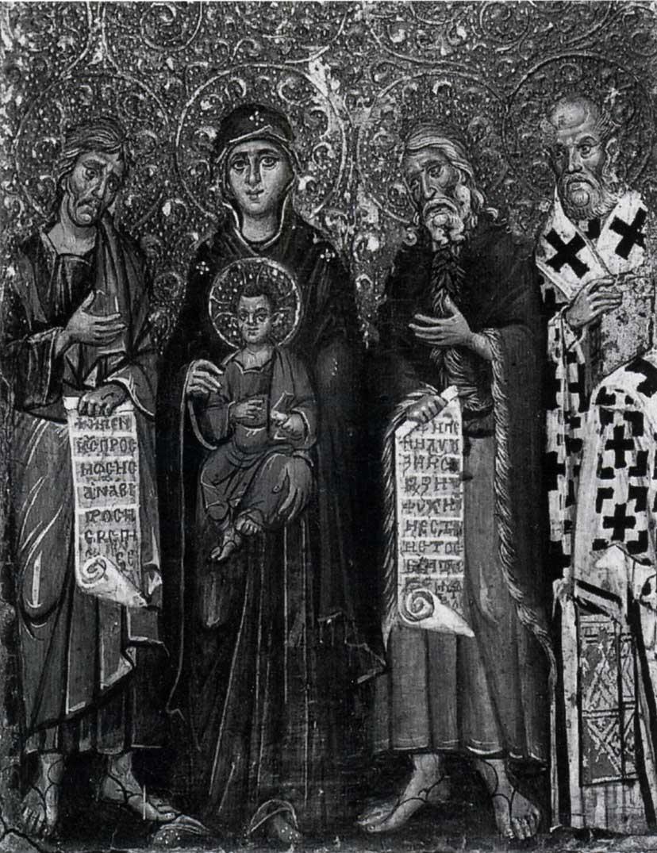 Богоматерь с Младенцем с пророками Моисеем и Илией и святителем Григорием Богословом. Ок. 1250-х гг. Монастырь св. Екатерины, Синай, Египет. Возможно, что справа изображен не святитель Григорий Богослов, а святитель Никола Чудотворец
