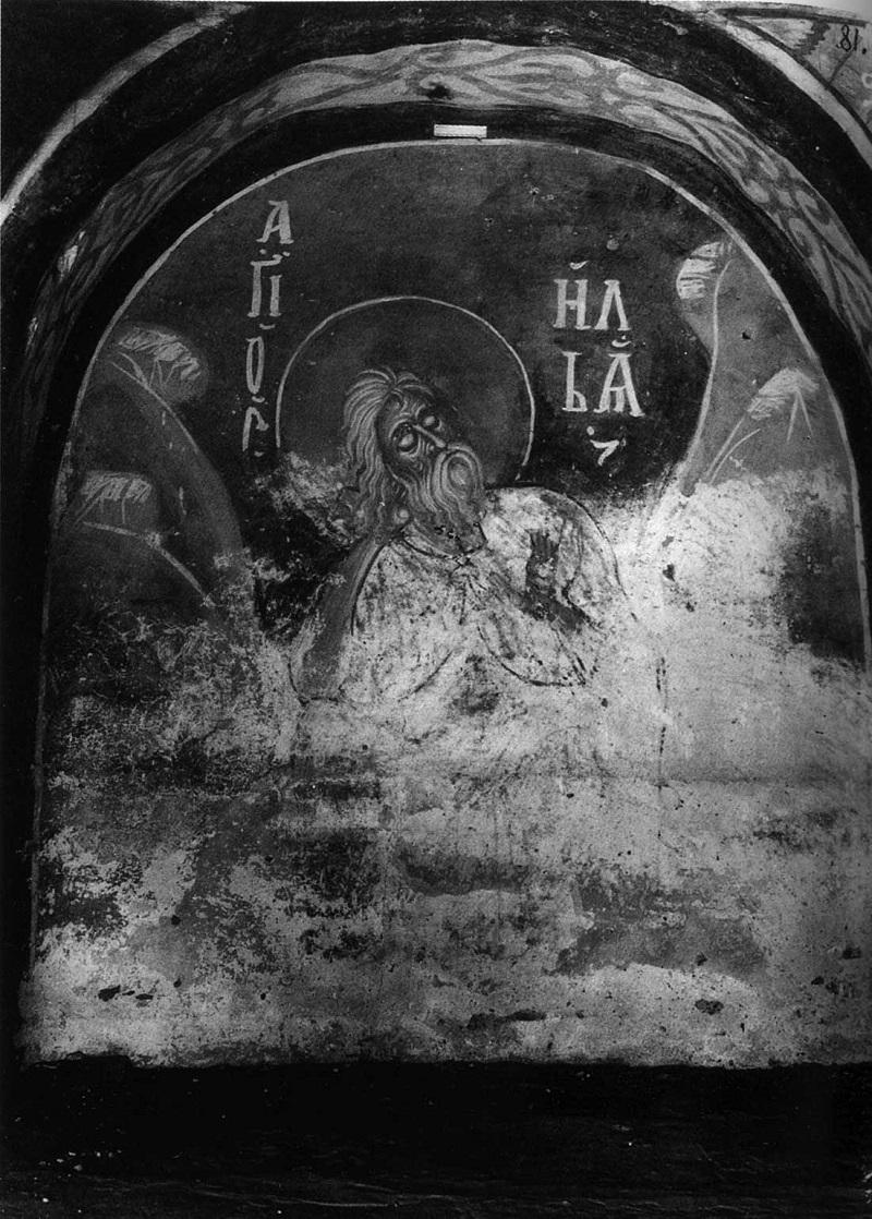Илия Пророк, питаемый вороном. 1199 г. Церковь Спаса на Нередице, Новгород. Фреска в аркосолии алтарной апсиды