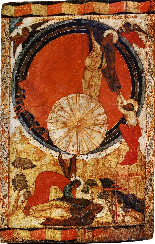 Огненное восхождение пророка Илии. Вторая половина XVI в. Происходит из Горицкого монастыря на Шексне. Государственная Третьяковская галерея, Москва