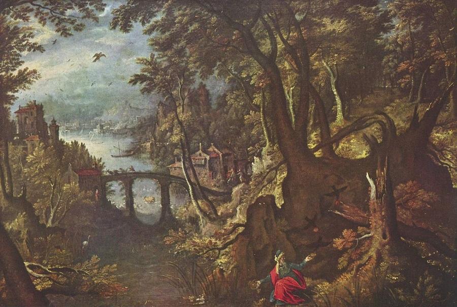 Ворон, кормящий пророка Илию в пустыне. Гиллис ван Конингсло. Конец XVI в. Королевский музей изящных искусств. Брюссель