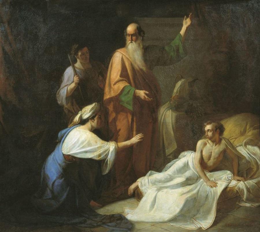 Пророк Илия, воскрешающий сына Сарептской вдовы. А.М Волков. 1854 г. Таганрогская картинная галерея