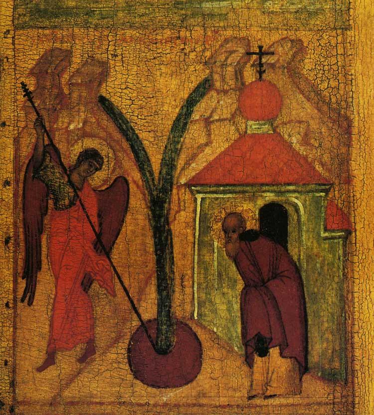 Чудо в Хонех. Клеймо иконы «Архангел Михаил с деяниями»