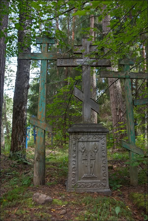 Поклонные кресты на могилах староверов