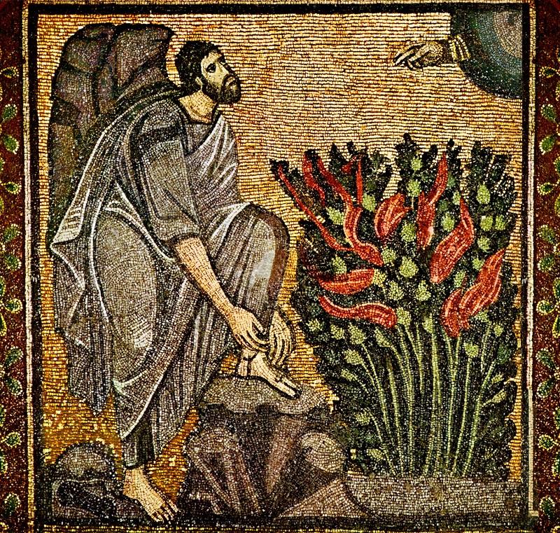 Моисей перед Неопалимой Купиной. Византийская мозаика из монастыря св. Екатерины на Синае, VI в.