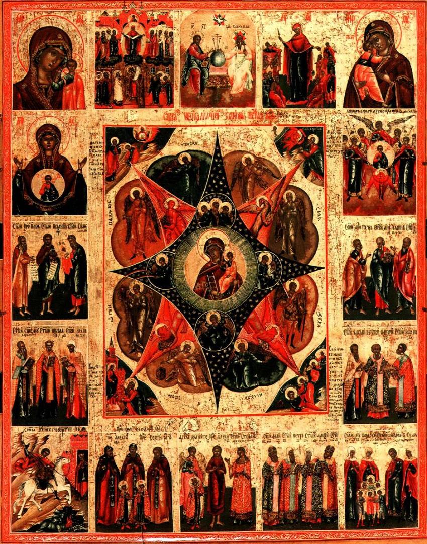 Неопалимая Купина с другими образами Богоматери, праздниками и святыми. XIX век. Владимирские сёла