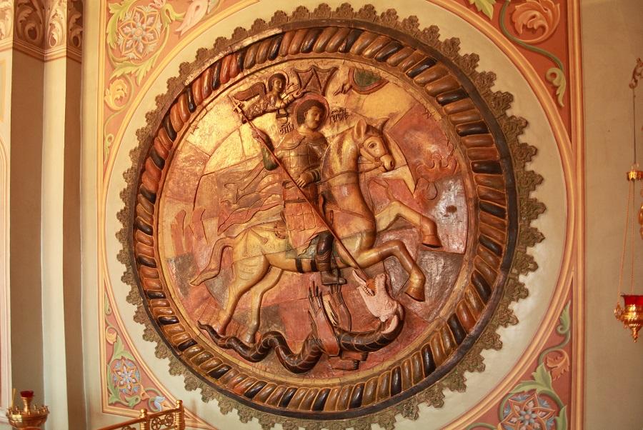 Керамическое тондо «Чудо святого Георгия о змие»