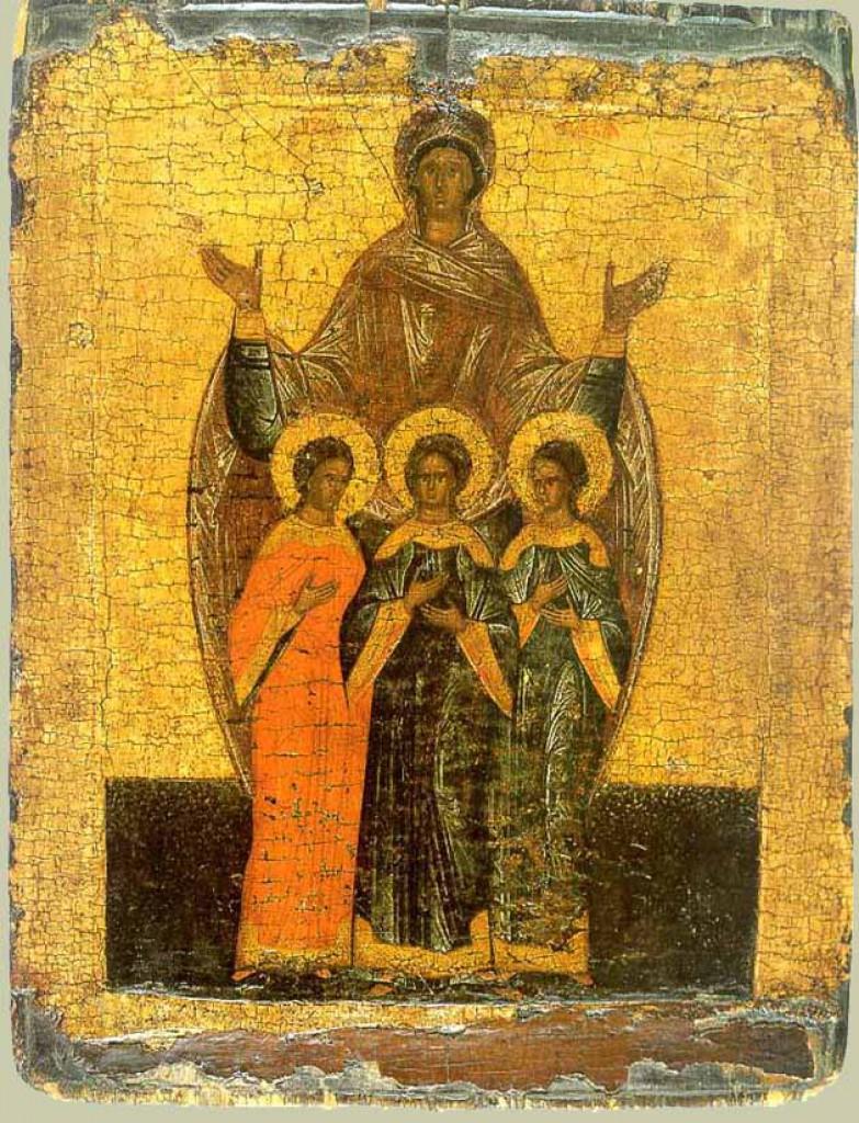 Вера, Надежда, Любовь и их мать София. Новгородская икона, XVI век