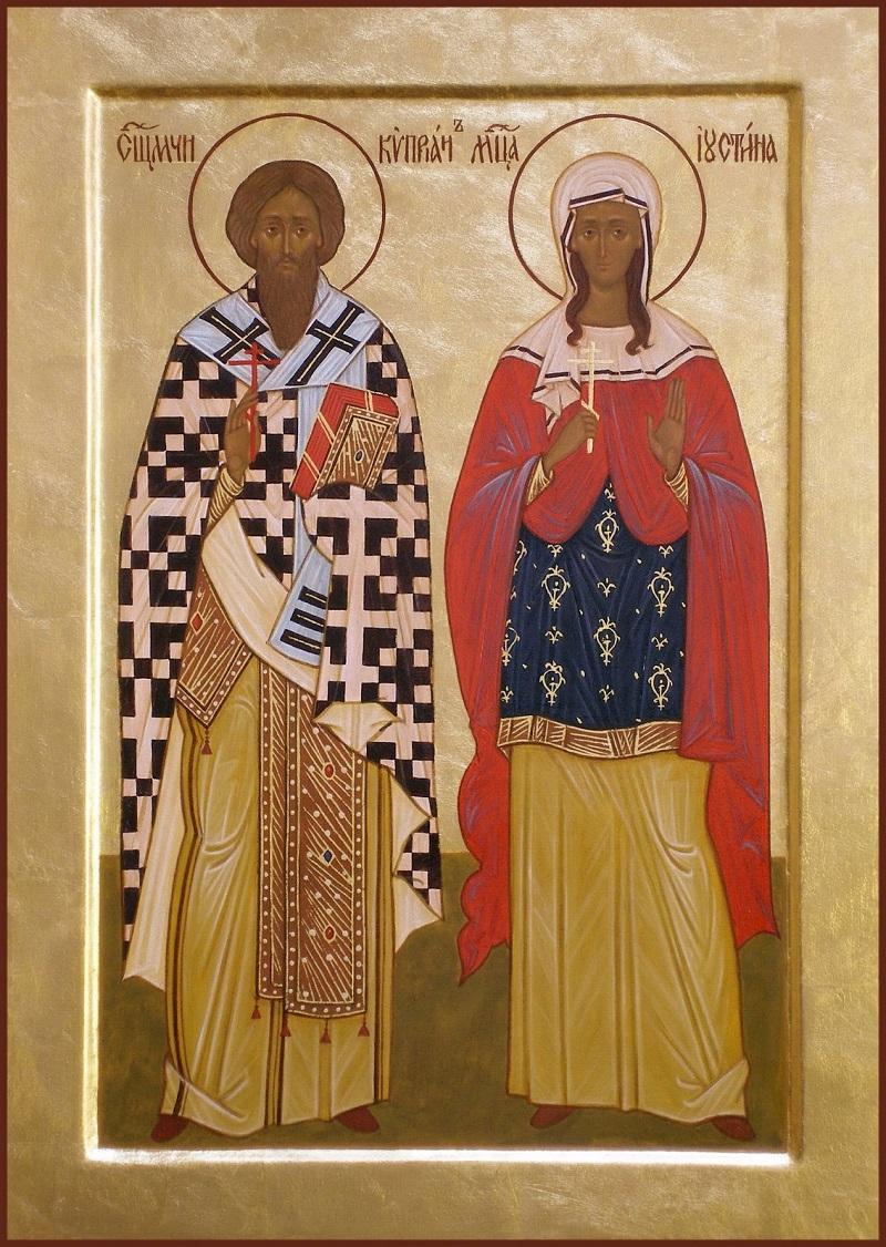 Святые мученики Киприан и Иустина. Современная икона