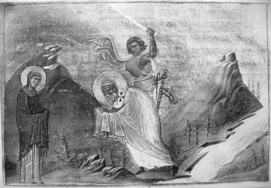 Мученики Киприан и Иустина. Миниатюра Минология Василия II. Константинополь, 985 г. Ватиканская библиотека, Рим