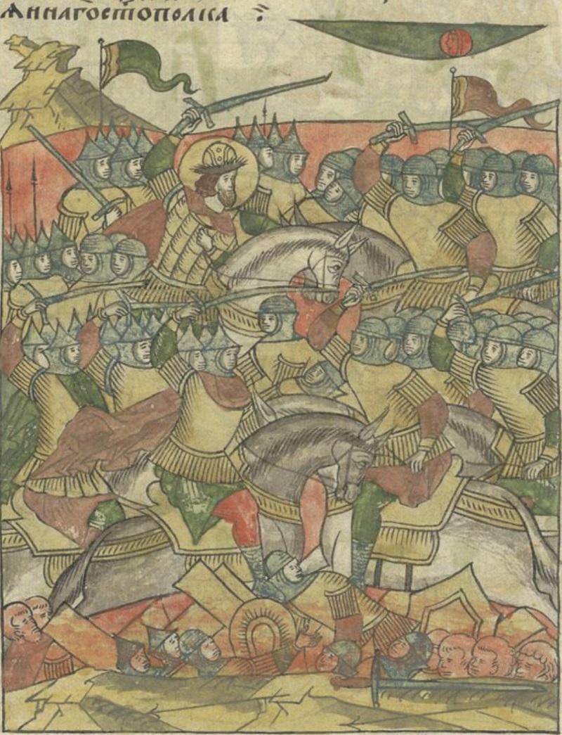 Князь Александр Невский в битве на Чудском озере. Миниатюра из Лицевого летописного свода
