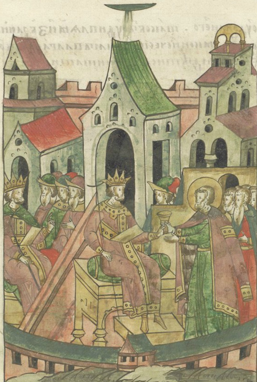 Хождение Александрово в Орду. Миниатюра из Лицевого летописного свода