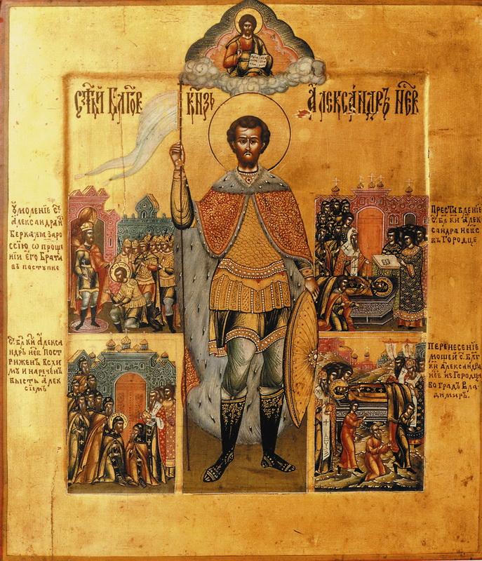 Святой благоверный князь Александр Невский. Икона XIX в. Частное собрание