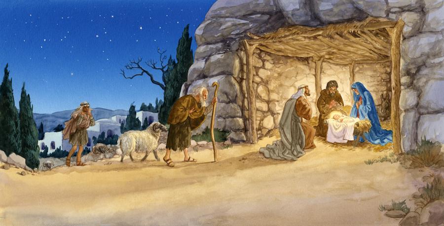 Пастухи и волхвы пришли поклониться рожденному Богомладенцу
