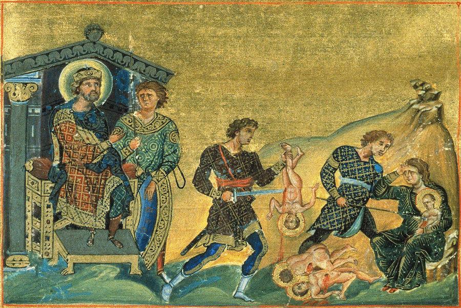 Святые мученики 14 000 младенцев от Ирода в Вифлееме избиенные, миниатюра Минология Василия II, Константинополь, 985 год
