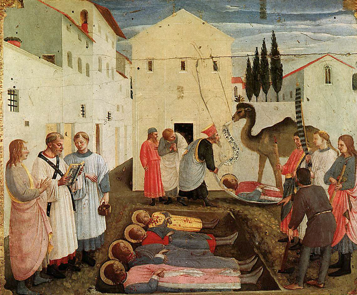 Погребение святых Козмы и Дамиана. Фра Анджелико (1438-1440 гг. Часть большого алтаря. Церковь Сан Марко. Флоренция. Италия